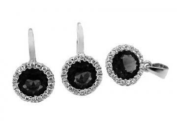 Souprava šperků s černým zirkonem náušnice a přívěsek