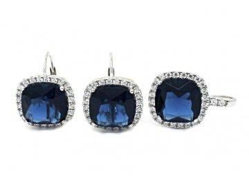 Souprava šperků s modrými zirkony náušnice a přívěsek