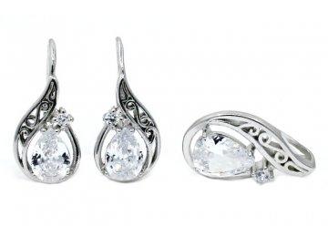 Sada šperků s bílým zirkonem kapka