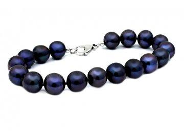 Perlový náramek sladkovodní modro-černé perly