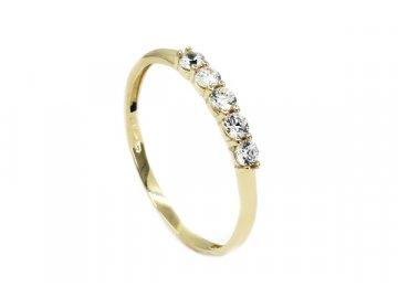 Zlatý prsten 5 zirkonů