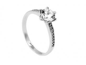 Prsten z bílého zlata se zirkonem 08Z