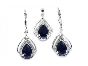 Souprava šperků s modrým zirkonem visací
