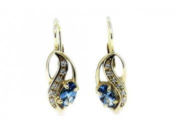 Zlaté náušnice s blue topazem a bílými kameny