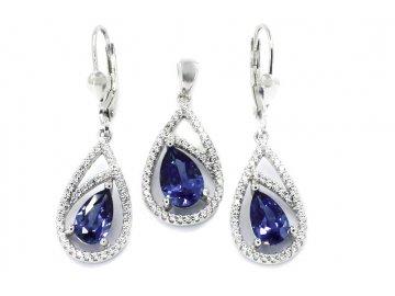 Souprava šperků s modrým zirkonem visací 1880