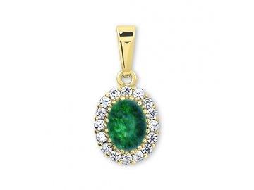 Zlatý přívěsek se smaragdem ovál