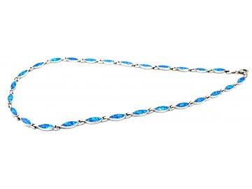 Stříbrný náhrdelník s modrým opálem 45cm