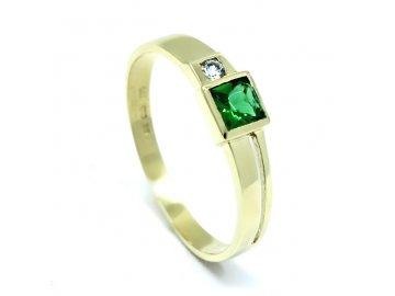 Zlatý prsten se syntetickým smaragdem