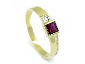 Zlatý prsten se syntetickým rubínem a zirkonem
