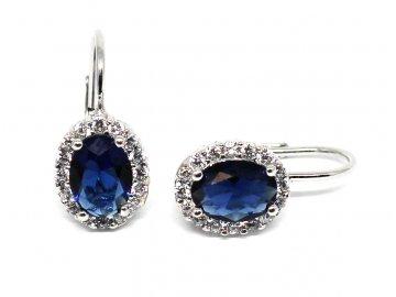 Stříbrné náušnice s modrým zirkonem