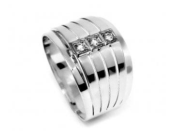 Zlatý prsten z bílého zlata se zirkony Mína