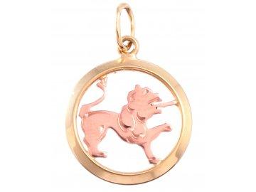 Zlatý přívěšek znamení-Lev kulatý