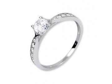 Zlatý prsten z bílého zlata se zirkony Naďa