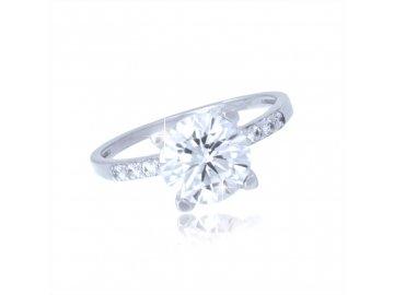 Zlatý prsten z bílého zlata se zirkony Star
