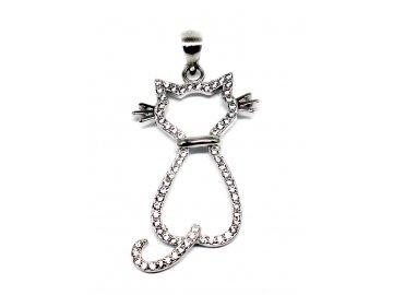 Stříbrný přívěšek kočka kamenová