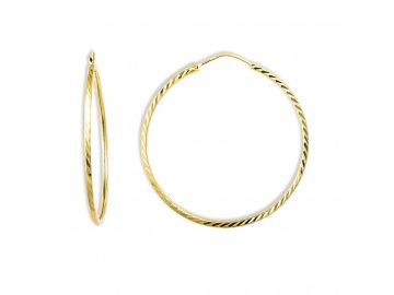 Zlaté náušnice kruhy gravírované 4,5mm