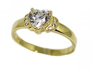 Zlatý prsten srdce se zirkony Klára