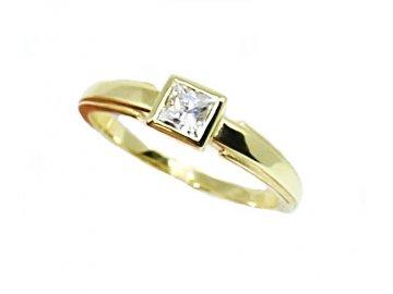 Zlatý prsten se zirkonem Ina