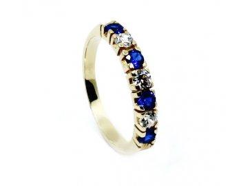 Zlatý prsten se safírem a zirkony Zina