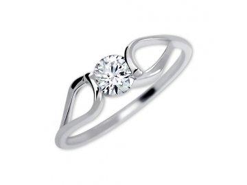 Zlatý prsten z bílého zlata a zirkonem Máří