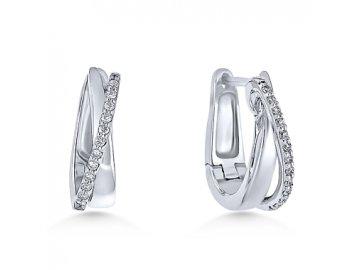 Alo diamantové náušnice bílé zlato kruhy Girtab