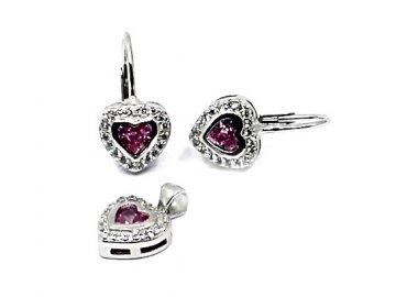 Stříbrné náušnice s růžovým zirkonem srdce a přívěsek