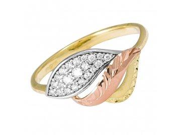 Zlatý prsten se zirkony Arna