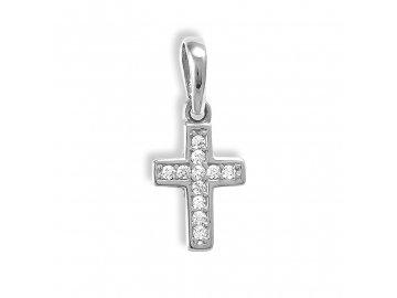 Zlatý křížek z bílého zlata a zirkony 07/2631W