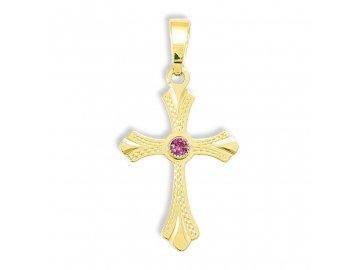 Zlatý kříž s rubínem