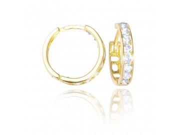 Zlaté náušnice kruhy se zirkony bílé 15mm
