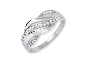 Zlatý prsten z bílého zlata se zirkony Ilza