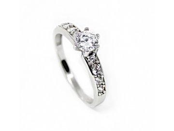 Zlatý prsten z bílého zlata se zirkony Gina