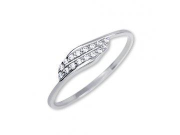Zlatý prsten z bílého zlata se zirkony Elsa