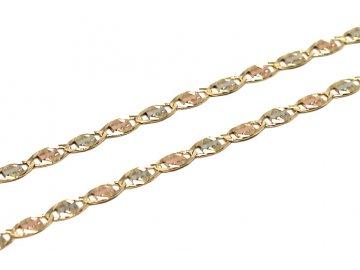 Zlatý řetízek tříbarevný destičkový 45cm