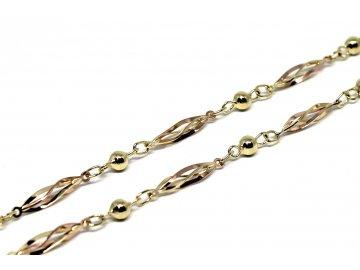 Zlatý náhrdelník dvoubarevný 50cm ovísky s kuličkou