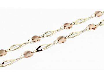 Zlatý náhrdelník destičkový dvoubarevný 50cm