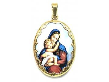 Zlatá madonka s Ježíšem smalt 4cm