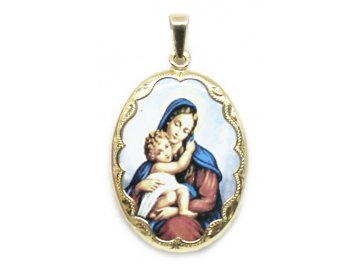 Zlatá madonka s Ježíšem smalt 3,5cm