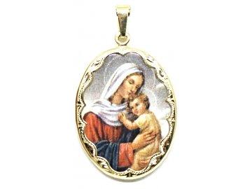 Zlatá madonka s Ježíšem smaltovaná 3,5cm