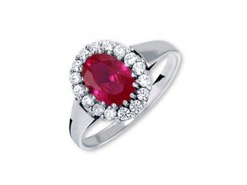 Zlatý prsten z bílého zlata se zirkony a rubínem Eva