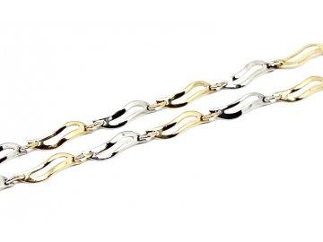 Zlatý řetízek vlnkový dvojbarevný 40 cm