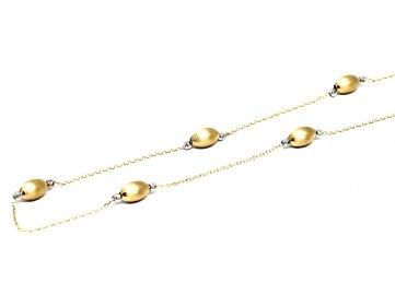 Zlatý náhrdelník dvoubarevný s oválky 50cm