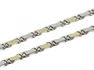Zlatý řetízek destičkový dvojbarevný 45cm vlnky