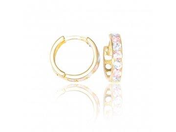 Zlaté náušnice kruhy s růžovým zirkonem 14mm