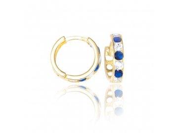 Zlaté náušnice kruhy s modrým zirkonem 12mm