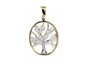 Zlatý přívěsek strom života ovál se zirkony