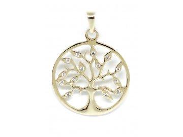 Zlatý přívěsek strom života se zirkony kulatý
