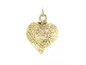 Zlatý přívěsek srdce gravírované
