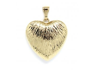 Zlatý přívěsek srdce oboustranné plastické