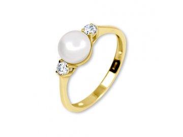 Zlatý prsten s perlou a zirkony Běla